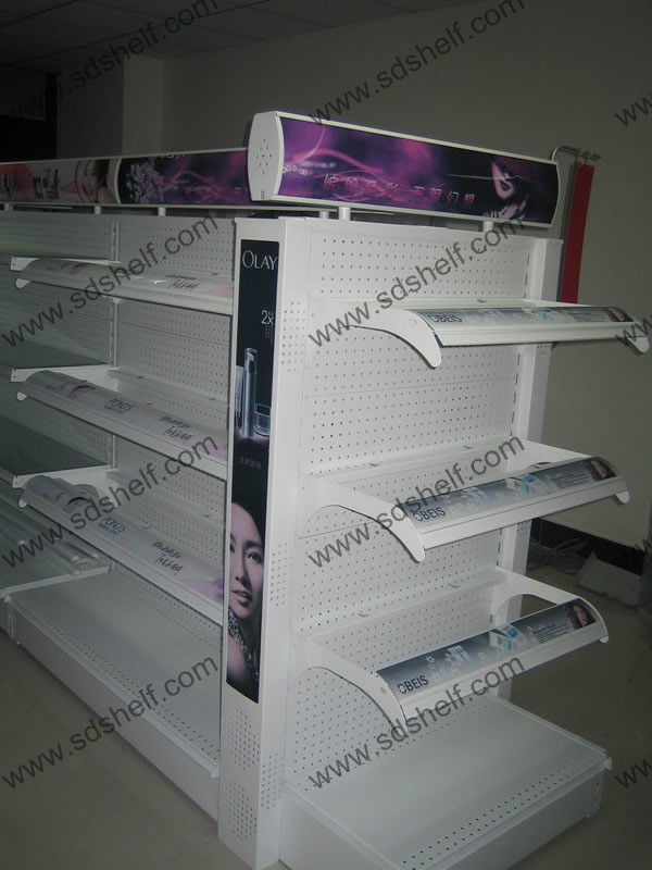 Cosmetic Gondola Shelves With Light Box For Sale