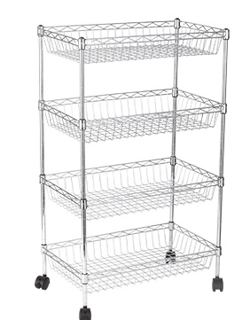 wire basket shelves with wheels